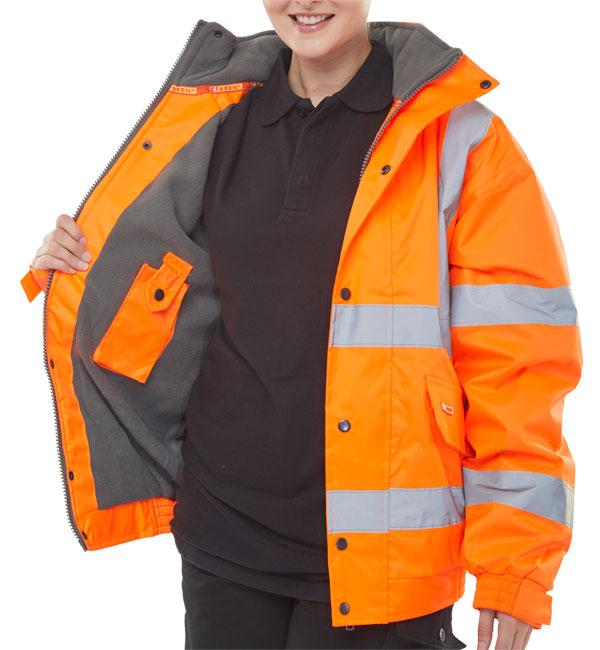Bomber Jacket Fleece Lined Hv Orange 1