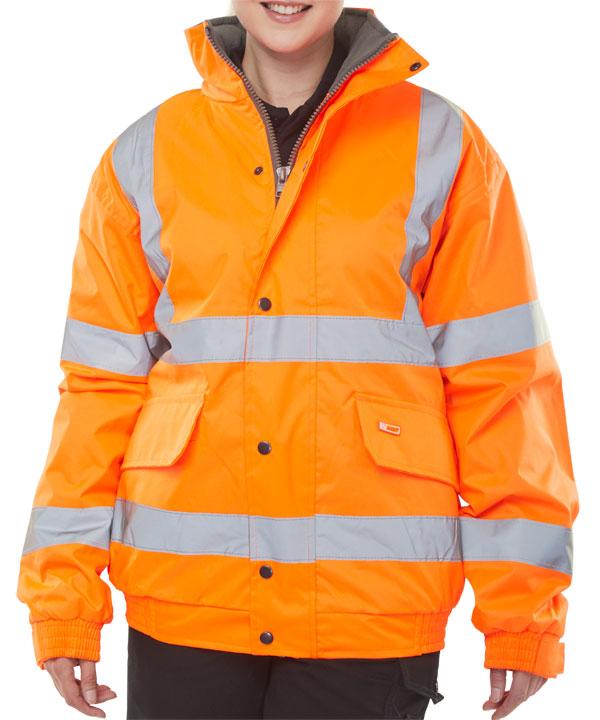 Bomber Jacket Fleece Lined Hv Orange 2