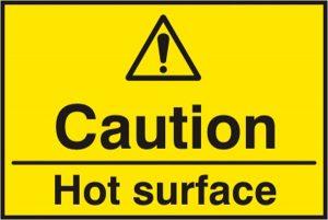 Caution Hot Surface Sav Pk5 75Mm X 50Mm