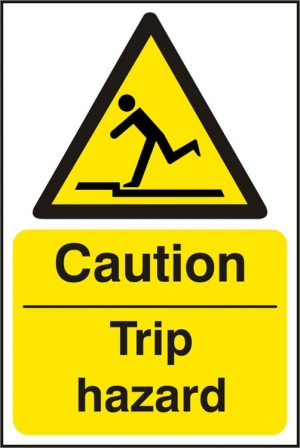 Caution Trip Hazzard Safety Sign Pack of 5 200Mm X 300Mm
