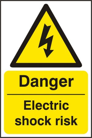 Danger Electric Shock Safety Sign Pack of 5 200Mm X 300Mm