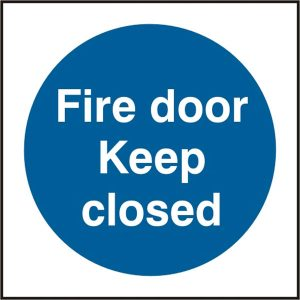 Fire Door Safety Sign Keep Closed Pack of 5 100Mm X 100Mm