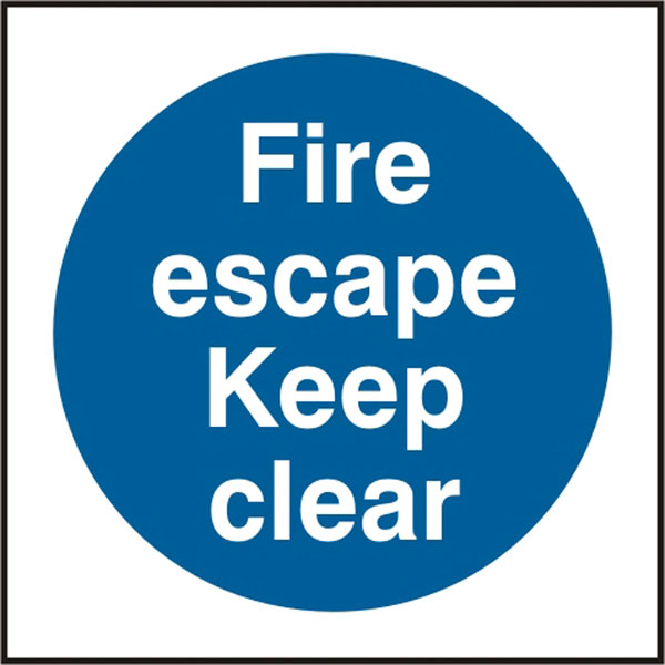 Fire Escape Safety Sign Keep Clear Pack of 5 100Mm X 100Mm