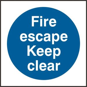 Fire Escape Safety Sign Keep Clear Pack of 5 150Mm X 150Mm