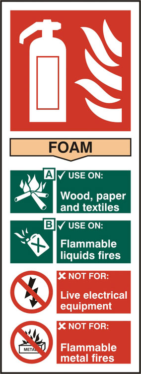 Fire Extinguisher Foam Safety Sign 82Mm X 202Mm Pack of 5