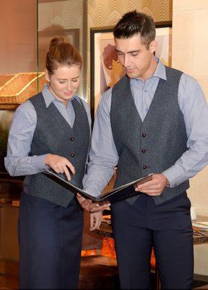 ladies blue donegal tweed waistcoat