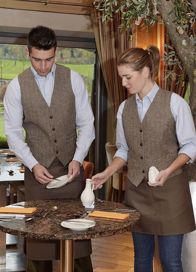 ladies brown herringbone waistcoat