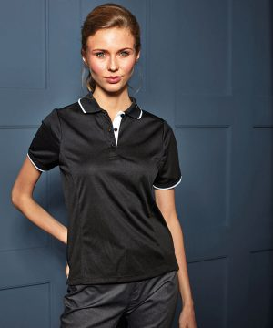PREMIER LADIES CONTRAST TIPPED COOLCHECKER POLO