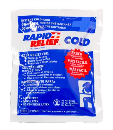 Rapid Relief Instant Cold Pack Small 4inch X 6inch