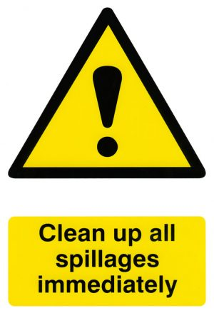 Safety Sign Clean Up All Spillages 200Mm X 300Mm
