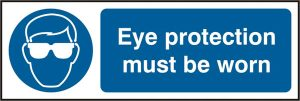 Safety Sign Eye Protection Rigid pvc Pack of 5 300Mm X 100Mm