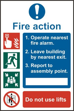Safety Sign Fire Action Procedure Rigid pvc Pack of 5 200Mm X 300Mm