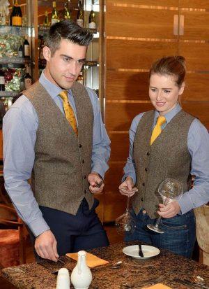 ladies brown donegal tweed waistcoat
