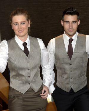 ladies fudge check waistcoat