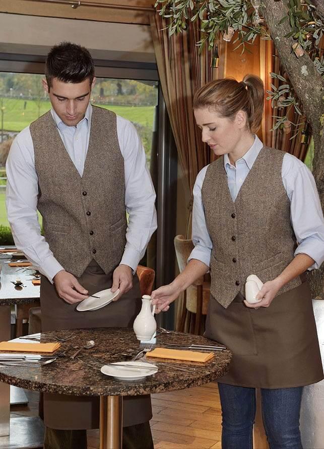 men's brown herringbone waistcoat