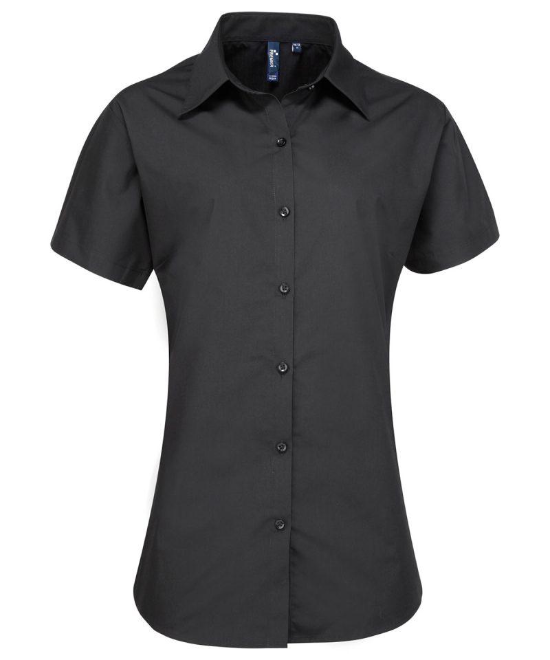 pr309 black Women's supreme poplin short sleeve shirt