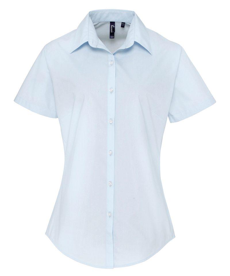pr309 lightblueWomen's supreme poplin short sleeve shirt