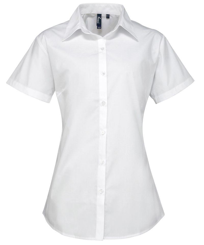 pr309 white Women's supreme poplin short sleeve shirt