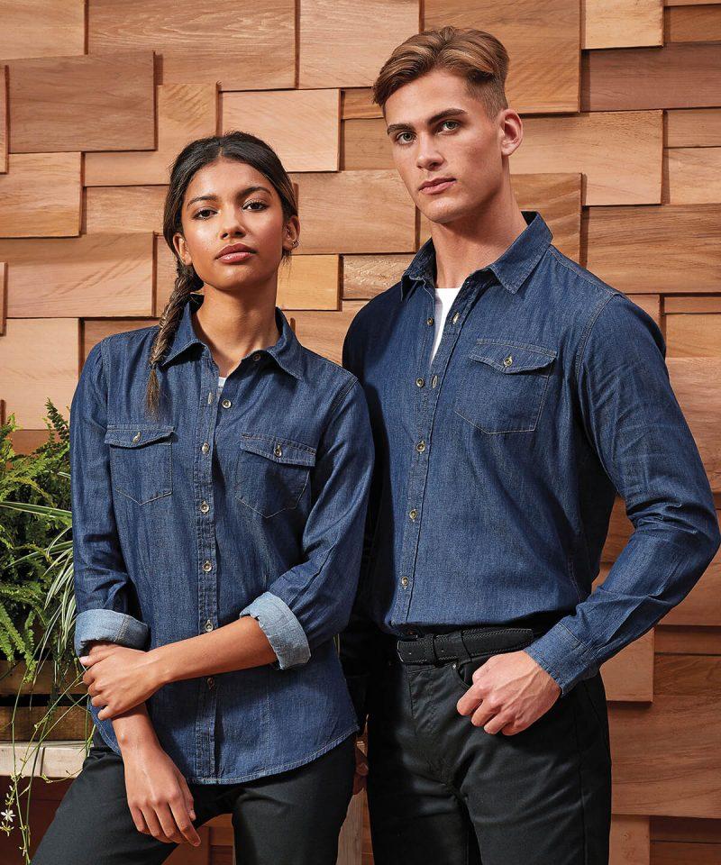 pr322 Women's jeans stitch denim shirt 1