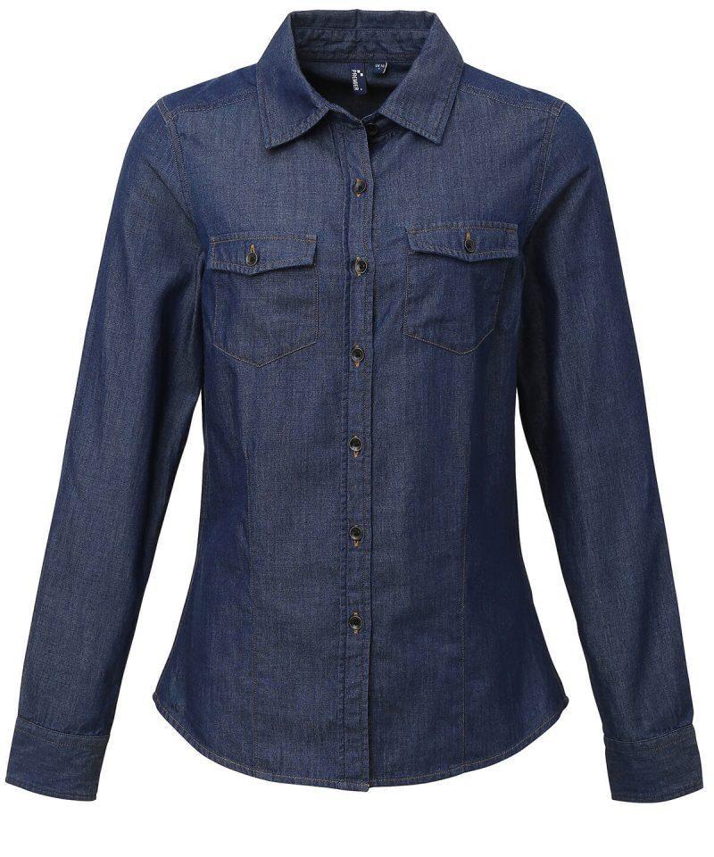 pr322 Women's jeans stitch denim shirt 2.jpg