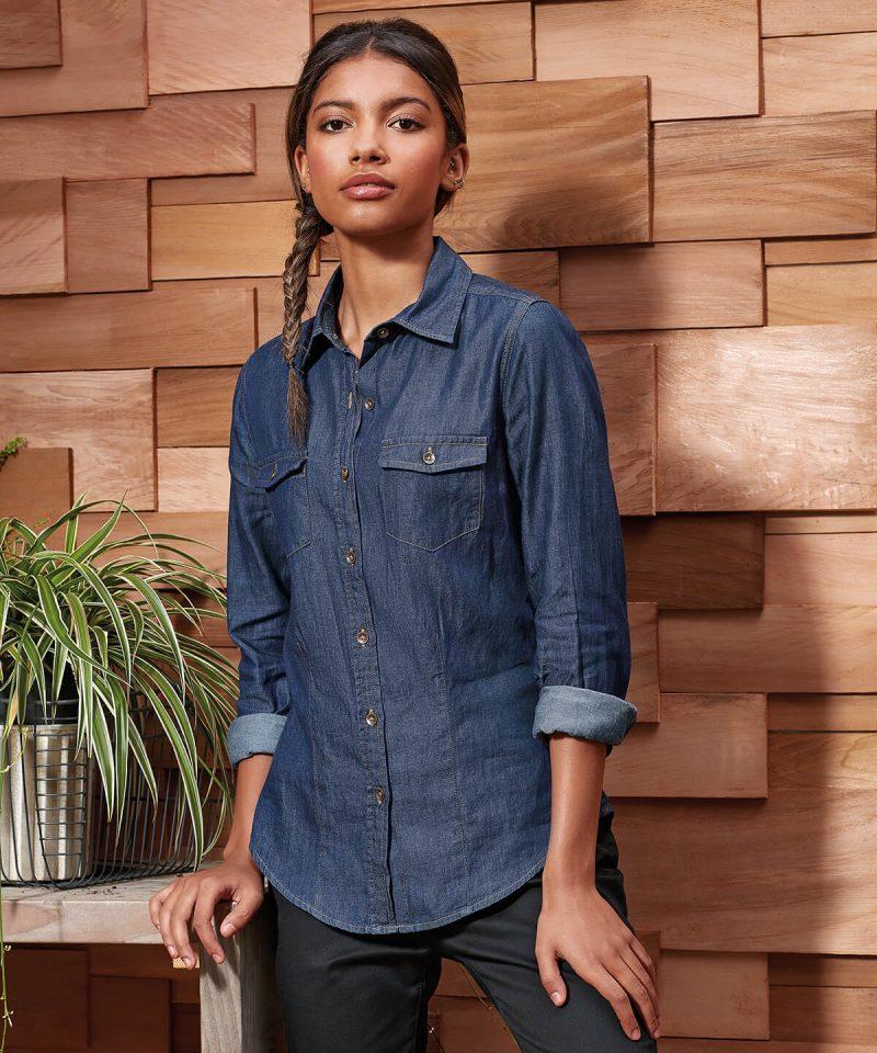 pr322 womens jeans stitch denim shirt