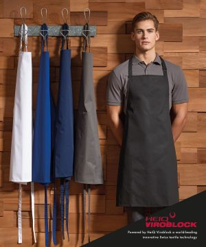Modelled on the best-selling PR150 Bib Apron, this style is enhanced by Swiss engineered HeiQ Viroblock textile technology to protect it against contamination by microbes and germs, with a biocide of Silver Chloride. Fully height adjustable with a buckle on the neckband, this apron is available in five best-selling colours and its antimicrobial properties remain effective for up to thirty washes at 60C.
